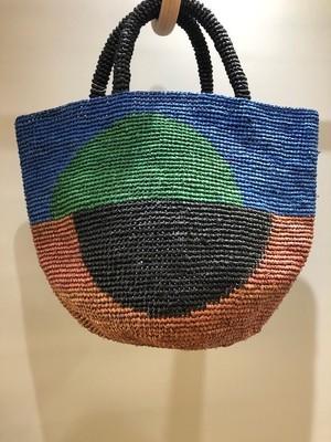 Sans Arcidet (サンアルシデ)KAPITY BLOC BAG M ラフィアナチュラルオレンジトートバッグ マダガスカル製