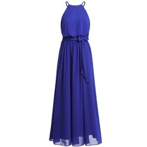CFL054 シフォンホルターネック ロングドレス ブルー