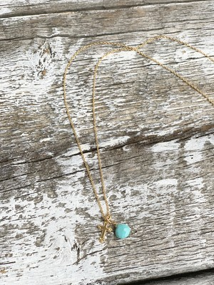 < ALL 14KGF> sleeping  beauty turquoise ネックレス * ターコイズ× クロスチャーム