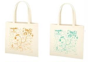 MUSUBU × くるり 「いわきマップ トートバック」 (ターコイズブルー / オレンジ)