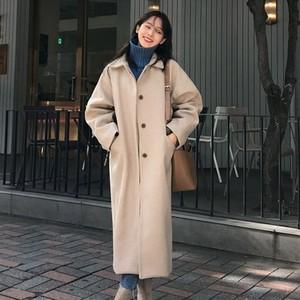 【アウター】韓国風ゆったり着痩せカジュアル冬暖かいロングコート