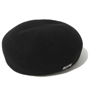 SHRINKAGE WOOL BERET (BLACK / WHITE) / RUDE GALLERY
