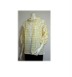 50 浴衣リメイク可愛いレトロ衿プルオーバーシャツ(白×黄色)