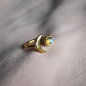 天然石ラブラドライト 月と星の指輪 MOON & STAR RING フリーサイズ