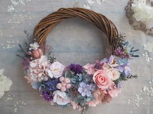 Lune Bonheur<pink elegant>*ハーフムーンリース*プリザーブドフラワー*お花*ギフト*敬老の日*結婚祝い*新築祝い*お誕生日祝い*ウェディング