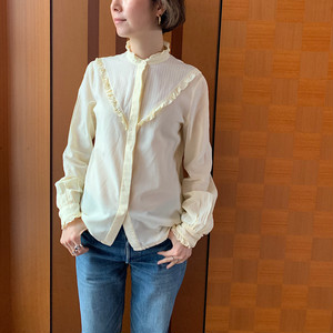 """60's-70's """"Lady Manhattan""""vintage ivory ruffled neck and cuffs blouse"""