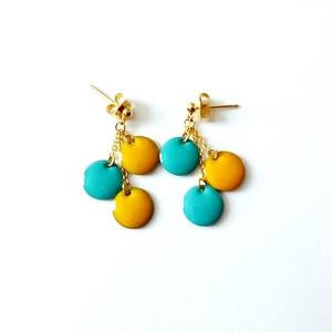 【限定1点】水色&黄色の夏カラーピアス