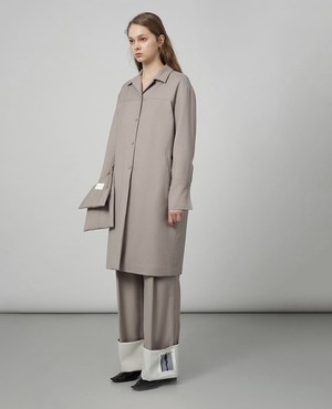 """""""nude"""" roll-up cuff trousers - ash beige -"""