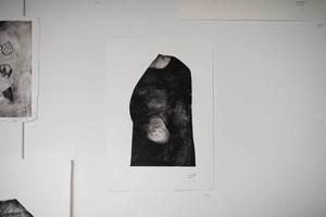 オオヤマネコ作品/版画『ぬくもりのとき』