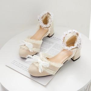 7107夏パンプス レディース ロリータ シューズ 靴 レース サンダル ミディアムヒール コスプレ靴  LOLITA レザーシューズ 革靴 大きいサイズ 小さいサイズ21.5cm-26.5cm