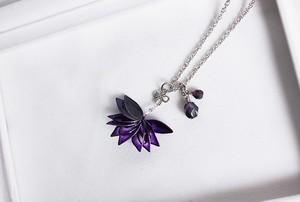 ディップネックレス *菱、銀紫水晶。