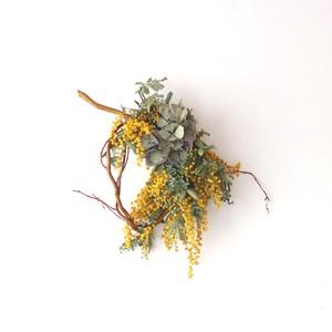 ミモザと紫陽花の柳の枝リース 【bdfa20033】ドライフラワー
