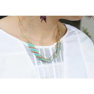 【harharhar】ブルービーズ織りネックレス