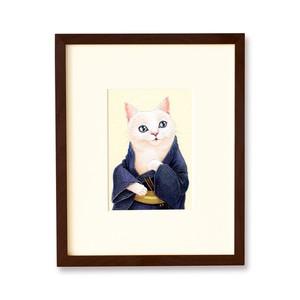 浴衣姿の白猫 原画 / The White Cat in a Yukata Original Artwork