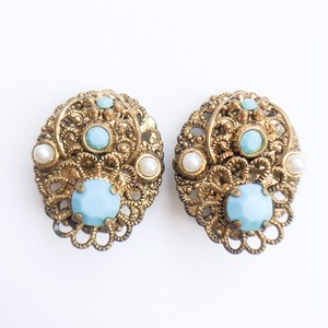 GERMANY gold & turquoise earring[e-178]