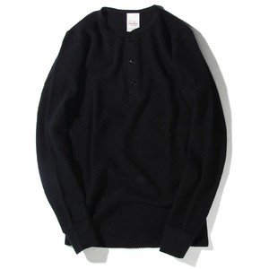 WAFFLE HENLEY NECK L/S【RENEWAL】 (BLACK) / RUDE GALLERY BLACK REBEL