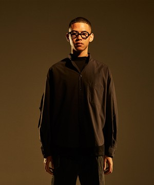 Military Sleeve Band Collar Shirt -black <LSD-BJ1S1>