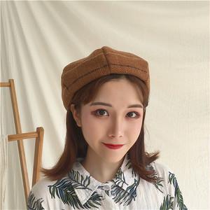 秋冬レトロチェック柄ベレー帽子
