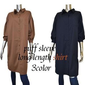 パフスリーブ ロング丈 シャツ 羽織り 3カラー
