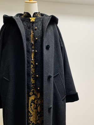 Vintage Black Velvet & Wool Coat Made In USA