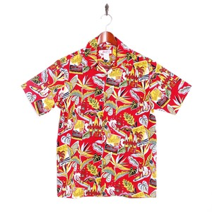 Mountain Mens / Open Aloha shirt / Waikiki surfers Red