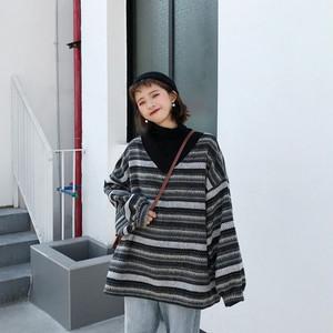 【トップス】ストライプ柄秋冬レトロ配色カジュアル森ガールVネックセーター