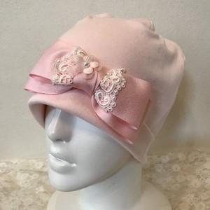 お花とレースリボンのケア帽子 ピンク⑤