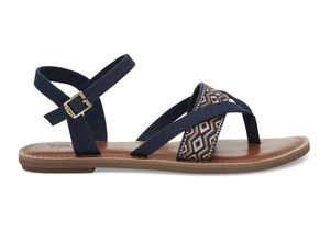 TOMS WOMEN'S / NAVY CANVAS EMBROIDERY LEXIE SANDAL