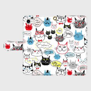 ネコ顔 手帳型(小・中) スマホケース・受注生産¥3600