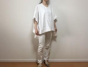 【B品】リネンオーバーサイズブラウス(ホワイト)