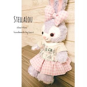 【ラスト1】ステラルー・ジェラトーニ♡コスメ柄ピンクT×ギンガムチェックSK