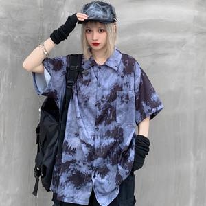 【トップス】韓国系半袖シングルブレストPOLOネックシャツ42584427