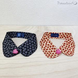 【キラキラハート柄】ハートボタンの猫用つけ襟風首輪/子猫から成猫までおしゃれでかわいいデザイン