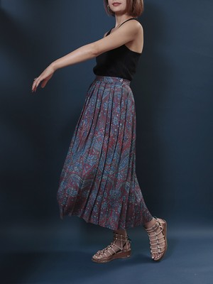 1980's Jos.A.Bank / Pleated Paisley Skirt