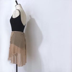 "◇""Tatiana"" Ballet Wrap Skirt  -   Handwritten Dots [Sheer]( ハンドリトゥン・ドット(ベージュ×黒)[シアー])"