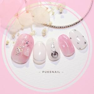 [Pukeネイル[No.329]うねうねふんわりピンクデート・バレンタインネイルチップ