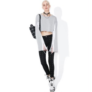 "DOLLSKILL ""SMOKE FINISH LINE LACEUP SWEATSHIRT"""
