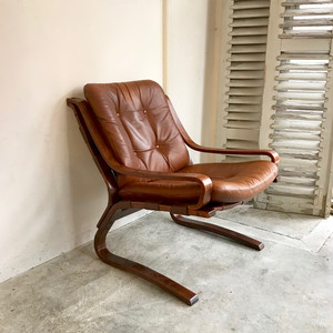 Bentwood Frame Leather Lounge Arm Chair 70's ノルウェー
