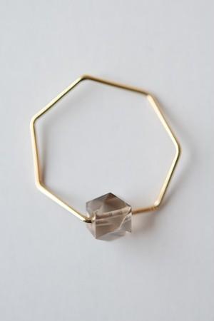 siki 七角形とスモーキークォーツのリング