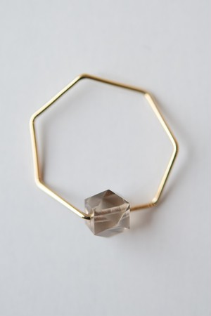siki 七角形とスモーキークォーツのリング(K18YG)