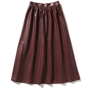【FILL THE BILL】SYNTHETIC LEATHER GATHERED SKIRT《WOMENS》- BORDEAUX