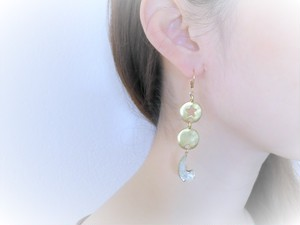 vintage pierced earrings star and moon <PE-STMN1>