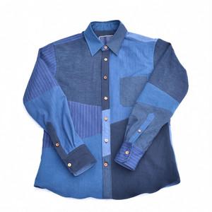 藍染 パネル切り替え ハンドメイド シャツ Aizome Panel Shirts 007 size2