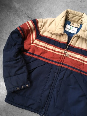 stripe panel ski jacket
