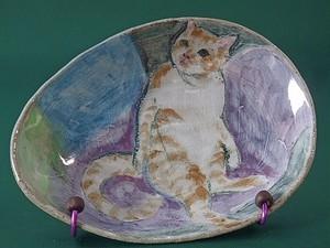 猫の絵皿・スコずわり