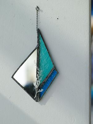 お在庫1点【contemporary mirror】sky/レースファーン