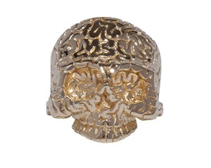 Surface Brain-Skull Ring  Gold-Coating