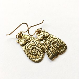 """Laurel Burch"" Gold Tone Cat Pierced Earrings"