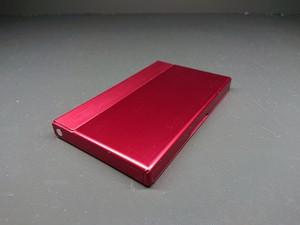 アルミニウム製名刺カードケース ボルドーレッド色