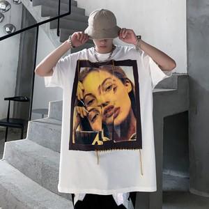 【トップス】個性的半袖ストリート系図柄プリント男女兼用Tシャツ48513717